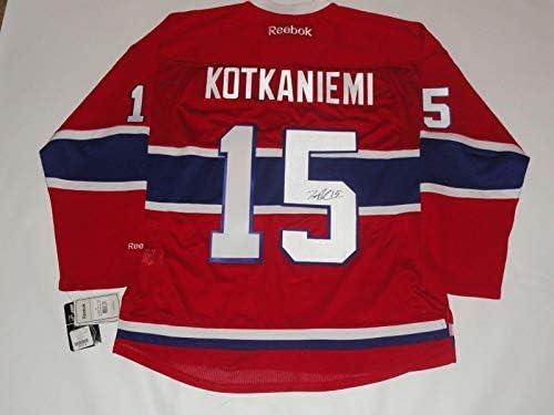 e9badf03751 Jesperi Kotkaniemi Autographed Jersey - Reebok Premier #15 Proof - JSA  Certified - Autographed NHL Jerseys