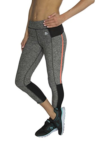 RBX Active Women's Dance and Yoga Capri Length Performance Legging Grey / Orange Combo Small (Mustache Spandex Sheer Pantyhose)