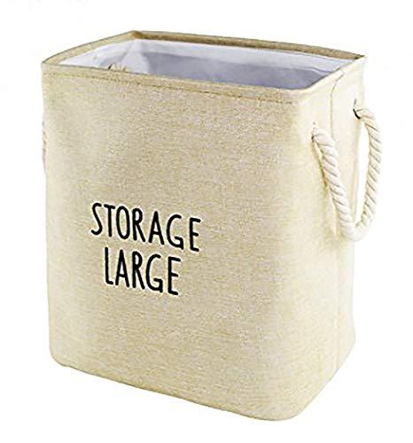 Rectangular Storage Organizer Cube Large Deppened Foldable Basket Collapsible Bin with Handles Khaki -