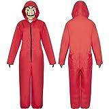 Happy Island Disfraz de Salvador Dali para Disfraz de la casa de Papel, Disfraz de la casa de Papel para Adultos con máscara Facial, Rojo, Medium