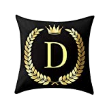 Letter Pillow Case Covers Bronzing Throw Pillow Case 18x18'' English Alphabets Cushion Cover Modern Square Pillowcase for Home Sofa Couch Decor (D)