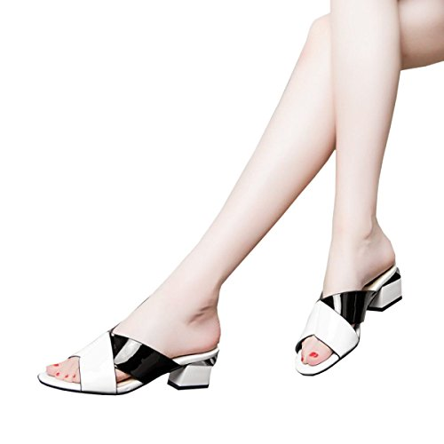 Dfb Spring And Autumn Women's Shoes Leather Thick With With Women's Cool Slippers Fight Color Sandals Slippers For Women,White-36