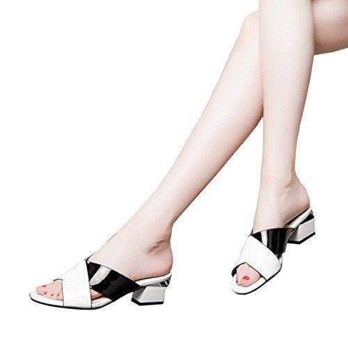 Cool mujer primavera Sandalias grueso Zapatillas otoño con para mujer zapatillas Zapatos cuero y de Fight de mujer de 37 blanco Color de Dfb TIn4Rxf6f