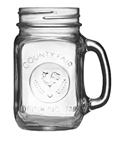 Libbey County Fair Drinking Jar with Handle, 16.5-Ounce, Clear, Set of 12