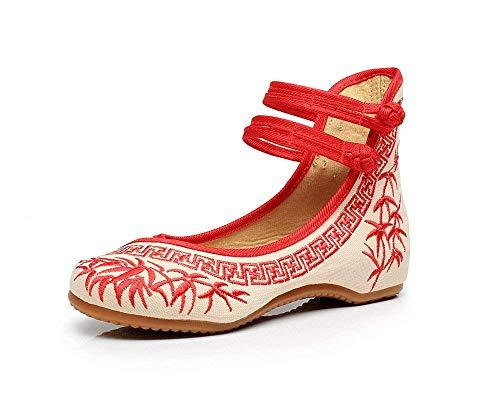 Chaussures Fuxitoggo couleur Ethnique Confortable En Mode Tissu Augmentation Rouge Féminin Brodées Tendon 37 Style Taille Occasionnelle Semelle rwrRCq