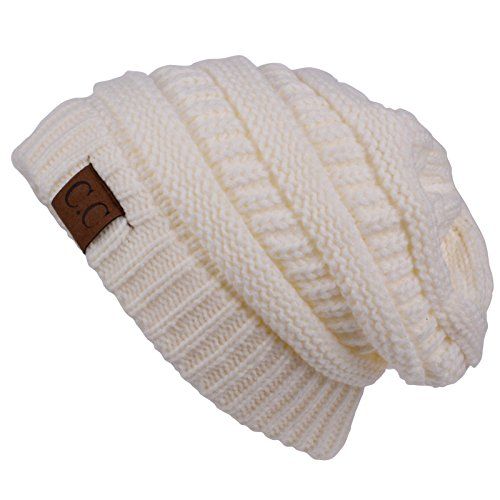 Tropic Monogram Blue - Cold Winter Hat Cap Fashion Cap_Ivory_outdoor skiing (US Seller)