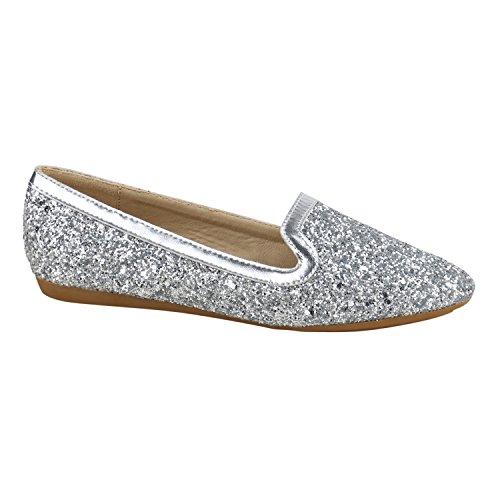 Stiefelparadies Damen Ballerinas Slipper Slip Ons Absatz in Mehreren Farben 36-41 Flandell Silber Silber Glitzer