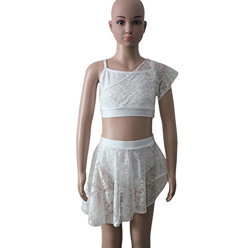 Costume Contemporary Dance (Girls Contemporary Ballet Dance Lycra Crop Top Shorts Lace Overlay Kids Costume (L, White))