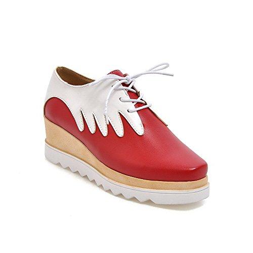 Allhqfashion Femmes Kitten-talons Lacets Matériau Souple Carré Fermé Chaussures À Bout Fermé-chaussures Rouge