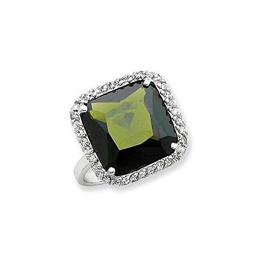 925 Sterling Silver Square Clear Green Cubic Zirconia Cz Band Ring Size 8.00 Fine Jewelry Gifts For Women For Her