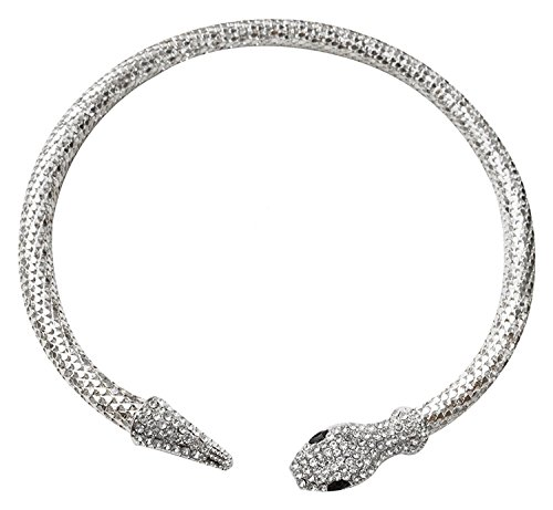 Lady Tone Chain Jewelry Rhinestone Snake Pendant Necklace ()
