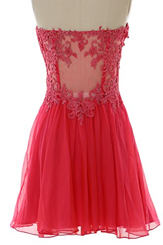 Formal Strapless Dress Gown Rot MACloth Chiffon Cocktail Women Lace Party Prom Mini zwtqf5ZtOn