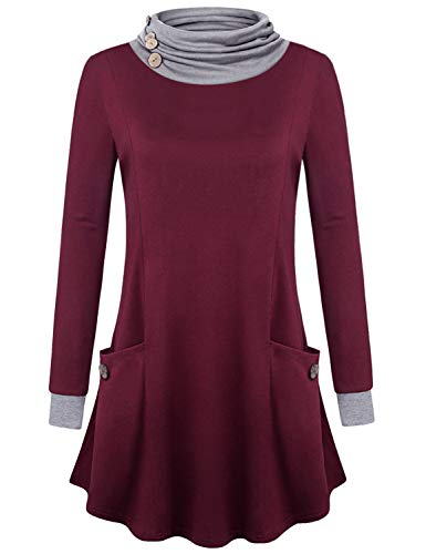 Baikea Red Sweatshirts Women, Juniors Long Sleeve Funnel Neck Tops with Pouch Pockets Cute Button Trim Hang Nicely Tunic Sweaters Well Made House Wear Fall Clothes Wine L