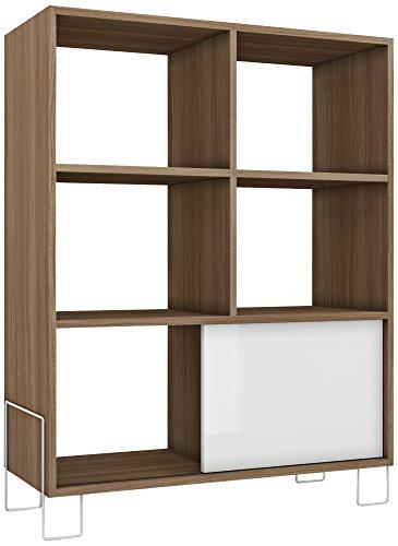 Boden 6-Shelf White and Oak Frame Mid-High Bookcase (Bookshelves Cabinets)