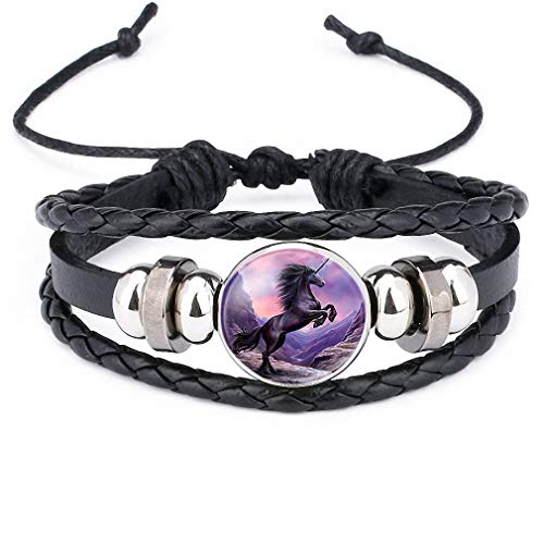Giwotu Womens Unicorn Pegasus Fly Horse Glass Cabochon Braided Multi Layer Bracelets Men Women Fashion Leather Bead Bangle 12010106 ()