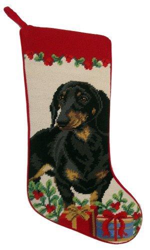 Black & Tan Smooth Coat Dachshund Dog Needlepoint Christmas Stocking