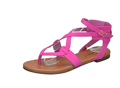 Breckelles Womens Open Teen Enkelband Cage Uitsparing Platte Strappy Flats-sandalen Roze