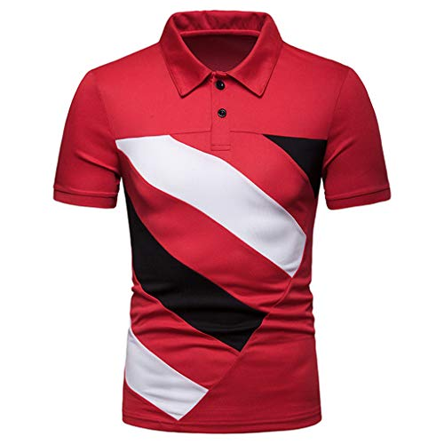 TANGSen Men Fashion Personality Short Sleeve Stripe Patchwork Large Size Casual Top Blouse Shirts Summer Polo Shirt 582 Red