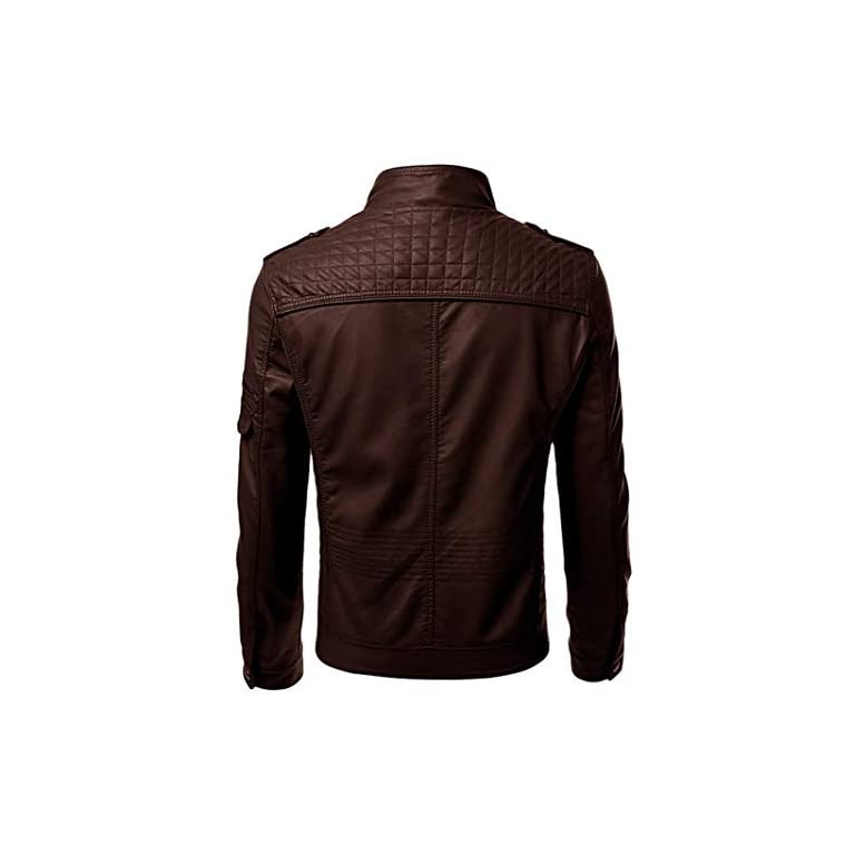 41LyLwgFquL. SS768  - Blaq Ash Men's Faux Leather Biker Outerwear Jacket