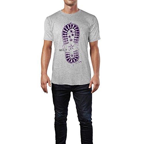 SINUS ART® Verschiedene Schuhabdrücke Schwarz Weiß Herren T-Shirts in hellgrau Fun Shirt mit tollen Aufdruck