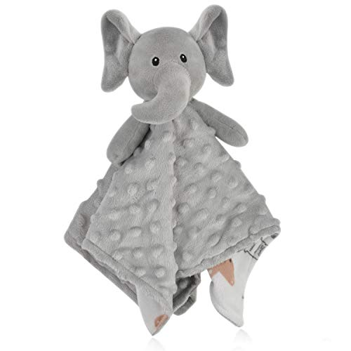 BORITAR Elephant Baby Security Blanket Soft Minky Dot Fabric Lovey Blanket with Lovely Animal Pattern Backing, Stuffed Plush Cuddle Newborn Blankie 14 Inch ()