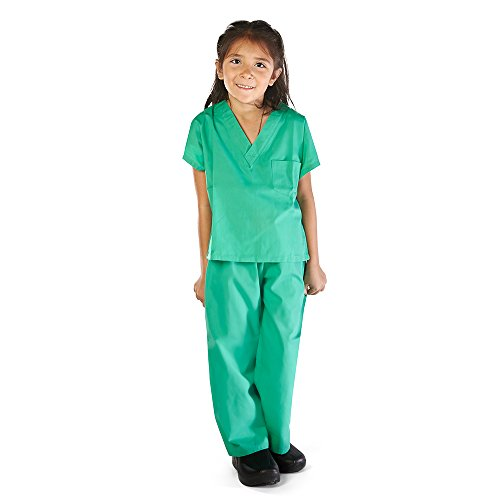 Super Soft Children Scrub Set Kids Doctor Dress up (5/6, Surgical Green)