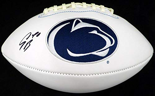 - Saquon Barkley Autographed Penn State Nittany Lions White Logo Football Beckett BAS Stock #128234 - Beckett Authentication