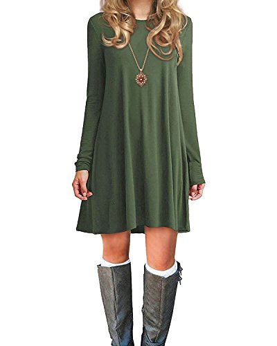 Women's Shirt Dresses T Green Plain Tunic Winter Long Trends Sleeve Loose American Dress Casual Fall Army w7qBAC55x
