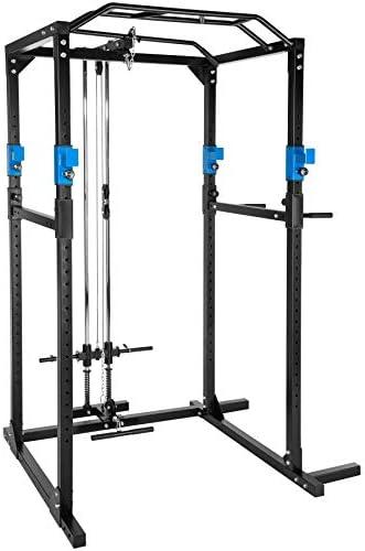 TecTake Multiestación de Fitness para Entrenamiento | 2 puntales de Seguridad macizos | Poleas para Barras de Flexiones Inferiores y Superiores Modelos (Azul Negro Lat | No. 402598): Amazon.es: Deportes y aire libre