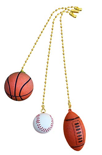Basketball, Baseball, Football Sports fan Pull with beaded chain 3 pack - FA1007