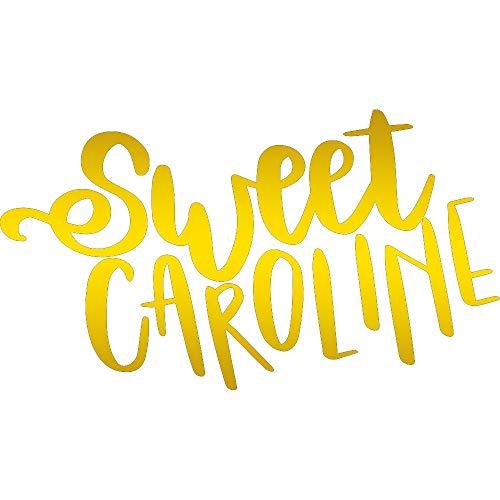NBFU DECALS MLB Boston RED SOX Sweet Caroline (Metallic Gold) (Set of 2) Premium Waterproof Vinyl Decal Stickers for Laptop Phone Accessory Helmet CAR Window Bumper Mug Tuber Cup Door Wall Decoration