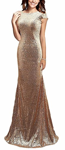 Butmoon Women's Elegant Mermaid Long Sequins Bridesmaid Dresses Prom Party Gowns