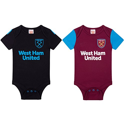 West Ham United FC Official Soccer Gift 2Pk Kit Baby Bodysuits 12-18 Months by Brecrest