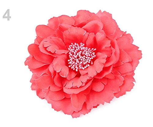 1pc 4 Red Coral Brooch/Rose with Clip Ø11 cm, Textile Brooches, Jewellery