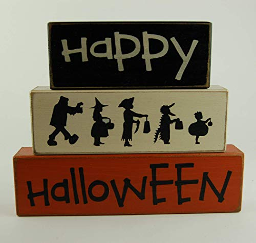 Ready to ship as is! NEW! Happy Halloween Trick Or Treating Trick or Treaters - Halloween Kids - Primitive Wood Sign Shelf Sitting Blocks - Holiday, Seasonal, Halloween, Fall, Home Decor -