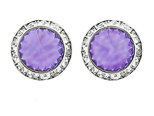"Grape Border Flat - Deep Purple Rivoli Cut Round Rhinestone Earrings with Clear Rhinestone Border, Post Back, 5/8"" Diameter"