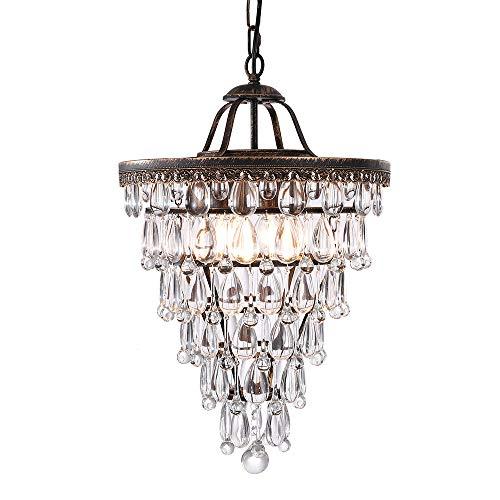 Wellmet Antique Copper Crystal Chandeliers, 4-Light Cone Shape Chandelier Lighting for Dinning Room, Crystal Glass Drop Chandelier Hanging Light Fixture for Entryway, Bathroom, Height Adjustable