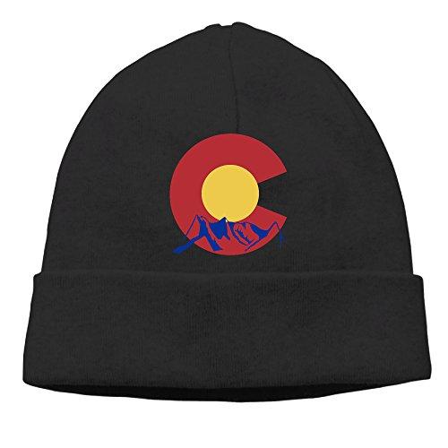 Men Women Mountain Of Colorado State Beanies Warm Wool Caps Hats Adjustable Black (Halloween Denver Co)