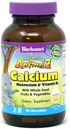 Bluebonnet Nutrition Rainforest Animalz Calcium Magnesium & Vitamin D3 Chewable Tablet, Soy-Free, Gluten-Free, Non-GMO, Kosher, Dairy-Free, Vegetarian, 90 Tablets, 45 Servings, Vanilla Frosting Flavor