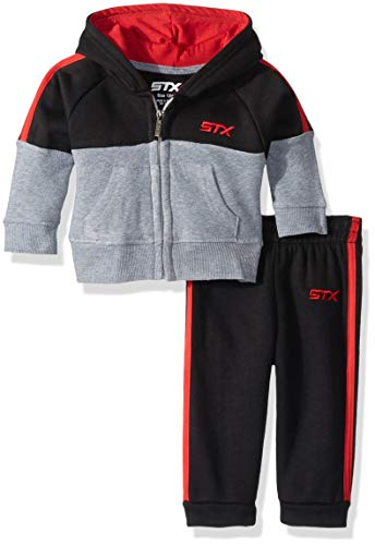 (STX Fashion Baby Boys Fleece Zip Hoodie and Jogger Set, Black/red,)