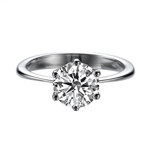 7.50MM Forever One D-F VS Moissanite Engagement Ring (1.29 ct Moissanite Weight, 1.50 ct dew) Classic 6 prongs 14K White Gold