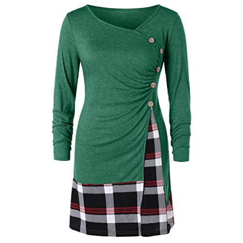 Womens Microlight Pant - TWGONE Plaid Dress for Women Plus Size Aline Buttons Long Tunic T-Shirt Tops Blouse(XXXXX-Large,Green)