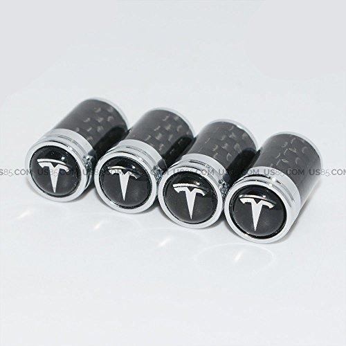 US85 Tesla Logo Emblem Auto Car Wheel Tire Air Valve Caps Stem Cover Cover Accessories Decoration Birthday Gift (Carbon Fiber)