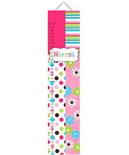 Toad and Lily Canvas Growth Chart Flower Candy Polka Dot Personalized Growth Chart Kids Children Height Chart Ruler Chart Girls Growth Chart GC0183