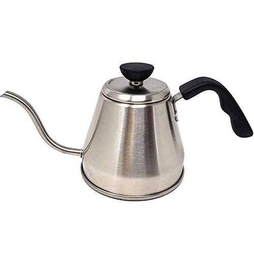 - Stainless Steel Tea Coffee Kettle | Pour Gooseneck Thin Spout Coffee | Works on Gas, Electric | Induction Stovetop for Fast Water Heat | Brewing, Camping, Traveling - Barista Quality 1.2 Liters