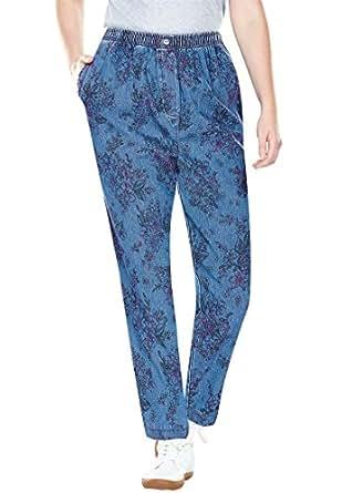 Women's Plus Size Comfort Jeans with Elastic Waist Bouquet Sketch,28 W
