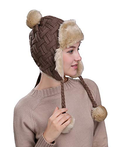 Home Prefer Womens Girls Earflap Hat Faux Fur Knit Hat Warm Snow Ski Trapper Hat (Brown (Cable))