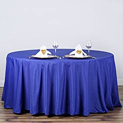 LinenTablecloth 120-Inch Round Polyester Tablecloth Royal Blue