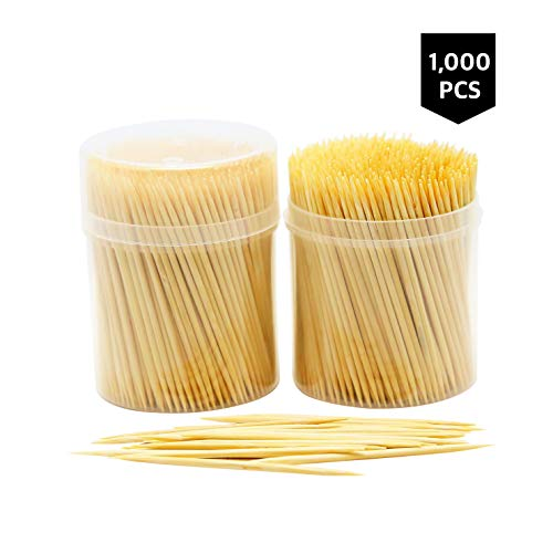 NatureCore Bamboo Wooden Toothpicks - 1000 Pieces, Sturdy Safe Round Clear Non-Fragile Storage, 2 Packs of 500 Pcs, Party Catering Appetizer Fruit Cocktail Dessert Barbecue Art Craft Teeth Cleaning ()