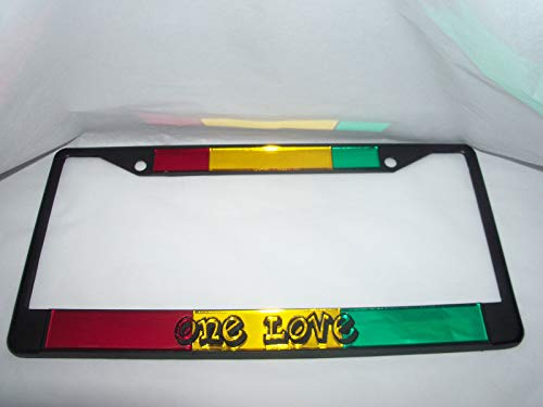 Puckerfish Bob Marley, Reggae, One Love, Rastafarian, License Plate Frame